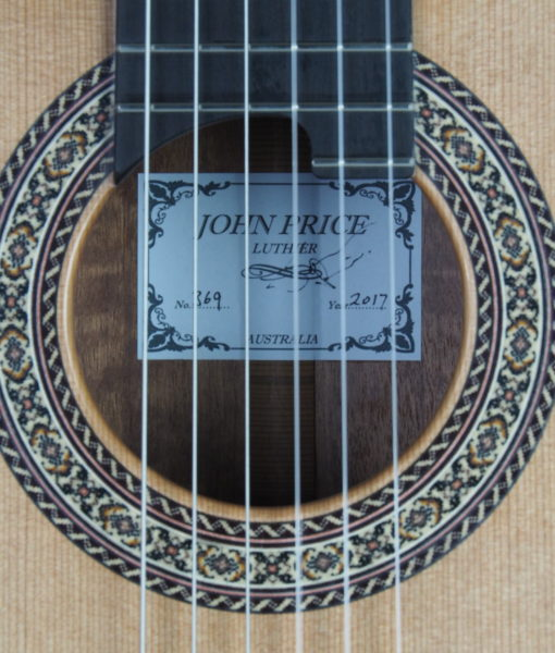 Luthier John Price concert classical guitar lattice