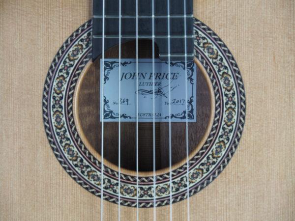 Luthier John Price concert classical guitar lattice